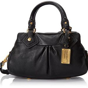 MARC BY MARC JACOBS Black and Gold Leather Satchel